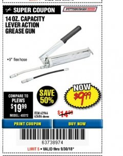Harbor Freight Coupon LEVER ACTION GREASE GUN Lot No. 63686/62966 Expired: 8/30/18 - $9.99