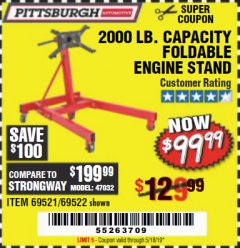 Harbor Freight Coupon 2000 LB. FOLDABLE ENGINE STAND Lot No. 69522/67015/69521 Expired: 5/18/19 - $99.99