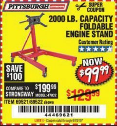 Harbor Freight Coupon 2000 LB. FOLDABLE ENGINE STAND Lot No. 69522/67015/69521 Expired: 6/15/19 - $99.99