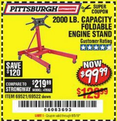 Harbor Freight Coupon 2000 LB. FOLDABLE ENGINE STAND Lot No. 69522/67015/69521 Expired: 8/5/19 - $99.99