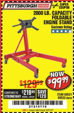 Harbor Freight Coupon 2000 LB. FOLDABLE ENGINE STAND Lot No. 69522/67015/69521 Expired: 10/21/19 - $99.99