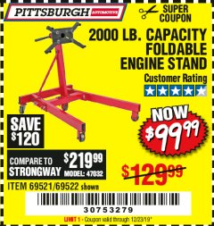 Harbor Freight Coupon 2000 LB. FOLDABLE ENGINE STAND Lot No. 69522/67015/69521 Expired: 12/14/19 - $99.99
