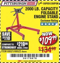 Harbor Freight Coupon 2000 LB. FOLDABLE ENGINE STAND Lot No. 69522/67015/69521 Expired: 1/23/20 - $109.99