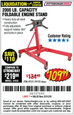 Harbor Freight Coupon 2000 LB. FOLDABLE ENGINE STAND Lot No. 69522/67015/69521 Expired: 3/31/20 - $109.99