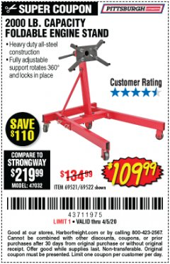Harbor Freight Coupon 2000 LB. FOLDABLE ENGINE STAND Lot No. 69522/67015/69521 Valid Thru: 4/5/20 - $109.99