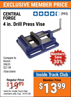 "Harbor Freight ITC Coupon 4"" DRILL PRESS VISE Lot No. 30999 Valid Thru: 10/31/20 - $13.99"