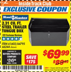 Harbor Freight ITC Coupon 2-1/4 CUBIC FT. STEEL TRAILER TONGUE BOX Lot No. 61602/66244 Expired: 2/29/20 - $69.99