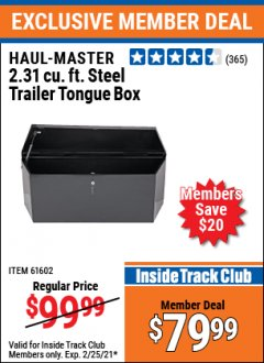 Harbor Freight ITC Coupon 2-1/4 CUBIC FT. STEEL TRAILER TONGUE BOX Lot No. 61602/66244 Expired: 2/25/21 - $79.99