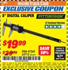 "Harbor Freight ITC Coupon 8"" DIGITAL CALIPER Lot No. 47260 Expired: 12/31/18 - $19.99"