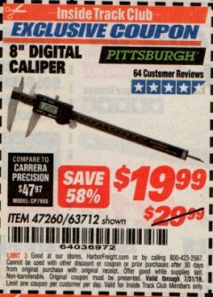 "Harbor Freight ITC Coupon 8"" DIGITAL CALIPER Lot No. 47260 Expired: 7/31/19 - $19.99"