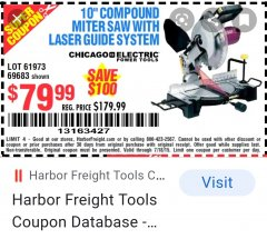 Harbor Freight Coupon 10 IN. COMPOUND MITER SAW WITH LASER GUIDE SYSTEM Lot No. 61973/69683 Expired: 8/16/20 - $79.99