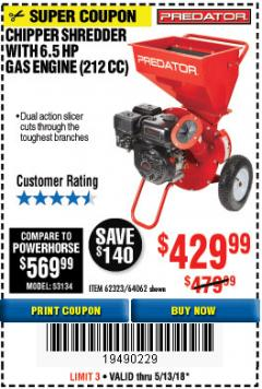 Harbor Freight Coupon CHIPPER/SHREDDER WITH 6.5 HP GAS ENGINE (212 CC) Lot No. 62323/64062 Expired: 5/13/18 - $429.99