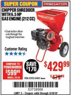 Harbor Freight Coupon CHIPPER/SHREDDER WITH 6.5 HP GAS ENGINE (212 CC) Lot No. 62323/64062 Expired: 6/18/18 - $429.99