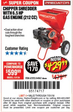 Harbor Freight Coupon CHIPPER/SHREDDER WITH 6.5 HP GAS ENGINE (212 CC) Lot No. 62323/64062 Expired: 7/31/18 - $429.99