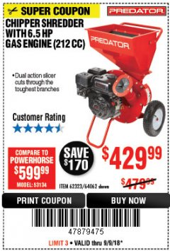 Harbor Freight Coupon CHIPPER/SHREDDER WITH 6.5 HP GAS ENGINE (212 CC) Lot No. 62323/64062 Expired: 9/9/18 - $429.99