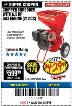 Harbor Freight Coupon CHIPPER/SHREDDER WITH 6.5 HP GAS ENGINE (212 CC) Lot No. 62323/64062 Expired: 9/30/18 - $429.99