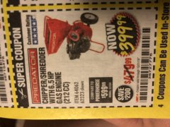 Harbor Freight Coupon CHIPPER/SHREDDER WITH 6.5 HP GAS ENGINE (212 CC) Lot No. 62323/64062 Expired: 10/31/18 - $399