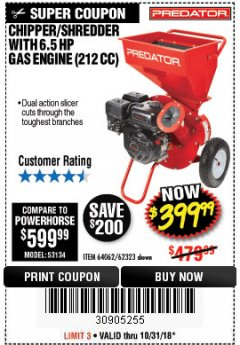 Harbor Freight Coupon CHIPPER/SHREDDER WITH 6.5 HP GAS ENGINE (212 CC) Lot No. 62323/64062 Expired: 10/31/18 - $399.99