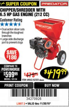 Harbor Freight Coupon CHIPPER/SHREDDER WITH 6.5 HP GAS ENGINE (212 CC) Lot No. 62323/64062 Expired: 11/30/18 - $149.99