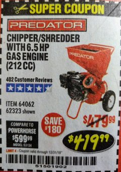 Harbor Freight Coupon CHIPPER/SHREDDER WITH 6.5 HP GAS ENGINE (212 CC) Lot No. 62323/64062 Expired: 12/31/18 - $419.99