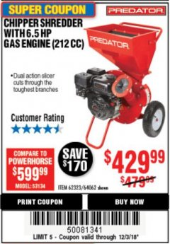 Harbor Freight Coupon CHIPPER/SHREDDER WITH 6.5 HP GAS ENGINE (212 CC) Lot No. 62323/64062 Expired: 12/3/18 - $429.99