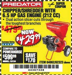 Harbor Freight Coupon CHIPPER/SHREDDER WITH 6.5 HP GAS ENGINE (212 CC) Lot No. 62323/64062 Expired: 6/15/19 - $429.99