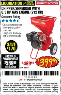 Harbor Freight Coupon CHIPPER/SHREDDER WITH 6.5 HP GAS ENGINE (212 CC) Lot No. 62323/64062 Expired: 3/31/20 - $399.99
