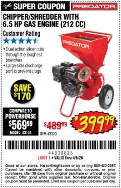 Harbor Freight Coupon CHIPPER/SHREDDER WITH 6.5 HP GAS ENGINE (212 CC) Lot No. 62323/64062 Expired: 6/30/20 - $399.99