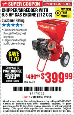 Harbor Freight Coupon CHIPPER/SHREDDER WITH 6.5 HP GAS ENGINE (212 CC) Lot No. 62323/64062 Expired: 3/22/20 - $399.99