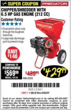 Harbor Freight Coupon CHIPPER/SHREDDER WITH 6.5 HP GAS ENGINE (212 CC) Lot No. 62323/64062 Expired: 6/30/20 - $429.99