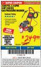 Harbor Freight ITC Coupon 2500 PSI, 2.4 GPM 4 HP (160 CC) PRESSURE WASHER Lot No. 62201 Expired: 3/8/18 - $249.99