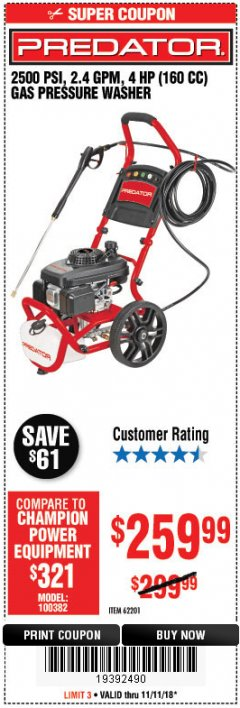 Harbor Freight Coupon 2500 PSI, 2.4 GPM 4 HP (160 CC) PRESSURE WASHER Lot No. 62201 Expired: 11/11/18 - $259.99