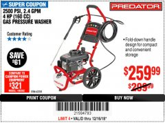 Harbor Freight Coupon 2500 PSI, 2.4 GPM 4 HP (160 CC) PRESSURE WASHER Lot No. 62201 Expired: 12/16/18 - $259.99