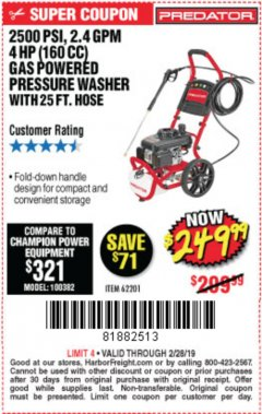 Harbor Freight Coupon 2500 PSI, 2.4 GPM 4 HP (160 CC) PRESSURE WASHER Lot No. 62201 Expired: 2/28/19 - $249.99