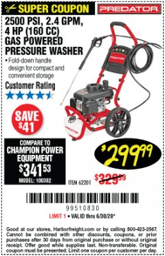 Harbor Freight Coupon 2500 PSI, 2.4 GPM 4 HP (160 CC) PRESSURE WASHER Lot No. 62201 Expired: 6/30/20 - $299.99