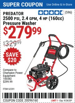 Harbor Freight Coupon 2500 PSI, 2.4 GPM 4 HP (160 CC) PRESSURE WASHER Lot No. 62201 Expired: 9/24/20 - $279.99