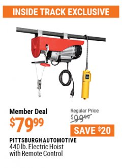Harbor Freight ITC Coupon 440 LB. CAPACITY ELECTRIC HOIST WITH REMOTE CONTROL Lot No. 40765/60346/60385/62767 Valid: 3/30/21 - 4/29/21 - $79.99