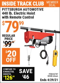 Harbor Freight ITC Coupon 440 LB. CAPACITY ELECTRIC HOIST WITH REMOTE CONTROL Lot No. 40765/60346/60385/62767 Valid Thru: 4/29/21 - $79.99