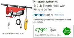Harbor Freight Coupon 440 LB. CAPACITY ELECTRIC HOIST WITH REMOTE CONTROL Lot No. 40765/60346/60385/62767 Expired: 6/30/20 - $79.99