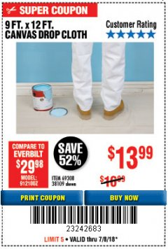 Harbor Freight Coupon 9 FT. x 12 FT. CANVAS DROP CLOTH Lot No. 69308/38109 Expired: 7/8/18 - $13.99