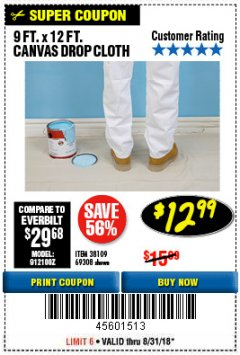 Harbor Freight Coupon 9 FT. x 12 FT. CANVAS DROP CLOTH Lot No. 69308/38109 Expired: 8/31/18 - $12.99
