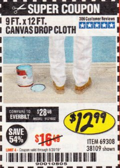 Harbor Freight Coupon 9 FT. x 12 FT. CANVAS DROP CLOTH Lot No. 69308/38109 Expired: 6/30/19 - $12.99