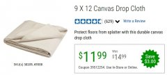 Harbor Freight Coupon 9 FT. x 12 FT. CANVAS DROP CLOTH Lot No. 69308/38109 Expired: 6/30/20 - $11.99