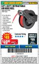 "Harbor Freight Coupon RETRACTABLE AIR HOSE REEL WITH 3/8"" x 50 FT. HOSE Lot No. 93897/69265/62344 Expired: 11/22/17 - $49.99"