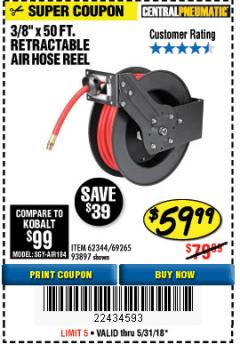 "Harbor Freight Coupon RETRACTABLE AIR HOSE REEL WITH 3/8"" x 50 FT. HOSE Lot No. 93897/69265/62344 Expired: 5/31/18 - $59.99"