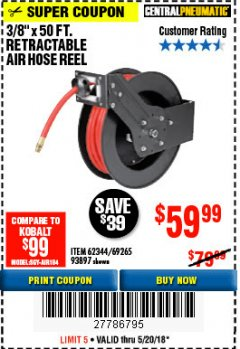 "Harbor Freight Coupon RETRACTABLE AIR HOSE REEL WITH 3/8"" x 50 FT. HOSE Lot No. 93897/69265/62344 Expired: 5/20/18 - $59.99"