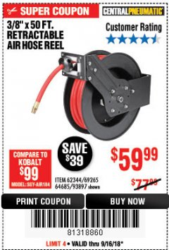 "Harbor Freight Coupon RETRACTABLE AIR HOSE REEL WITH 3/8"" x 50 FT. HOSE Lot No. 93897/69265/62344 Expired: 9/16/18 - $59.99"