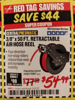 "Harbor Freight Coupon RETRACTABLE AIR HOSE REEL WITH 3/8"" x 50 FT. HOSE Lot No. 93897/69265/62344 Expired: 12/31/18 - $54.94"