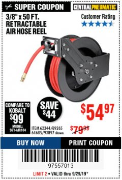 "Harbor Freight Coupon RETRACTABLE AIR HOSE REEL WITH 3/8"" x 50 FT. HOSE Lot No. 93897/69265/62344 Expired: 9/29/19 - $54.97"