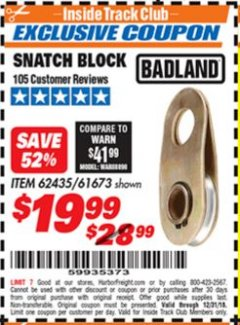 Harbor Freight ITC Coupon SNATCH BLOCK Lot No. 62435/61673 Expired: 12/31/18 - $19.99